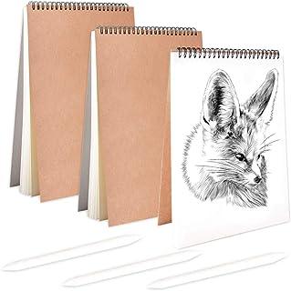 3PCS Cuaderno de Bocetos en Espiral Negro Bloc de Dibujo A4 Cubierta de Papel Kraft Bloc de Bocetos en Blanco + 3 pcs Bolígrafos de Papel para Dibujar Escritura (A4x3)