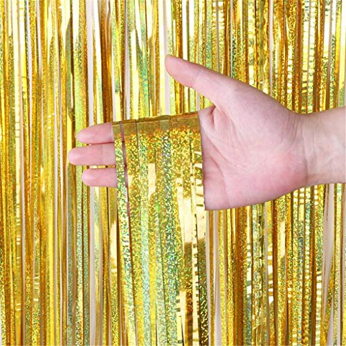 Anasu 2 Pack Foil Fringe Curtain Backdrop Door Window Curtain Tinsel Metallic Curtains Photo Backdrop for Wedding Birthday Baby Shower Party Stage Decor (Gold, 2 Pack 1x2m)