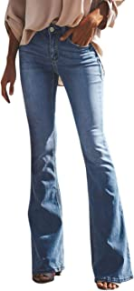 Runstarshow Jean Femme Evasé Pantalon Bootcut Stretch Slim avec Poches Fermeture Eclair Elastique Décontracté Casual Pants...