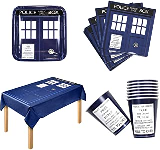 Doctor Who Party Bundle for 16 with Table Cloth, Paper Plates & Cups and More