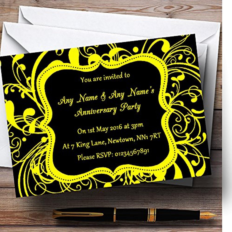 Black & Yellow Swirl Deco Personalised Anniversary Party Invitations