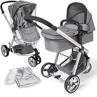 tectake 800043 - Cochecito para Bebés, Carrito con Capazo, 3 Ruedas, con Giro de 360°- disponible en varios Colores (Gris | No. 400829)