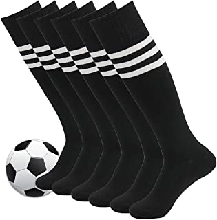 Fasoar Unisex Knee High Stripe Football Sports Tube Socks...