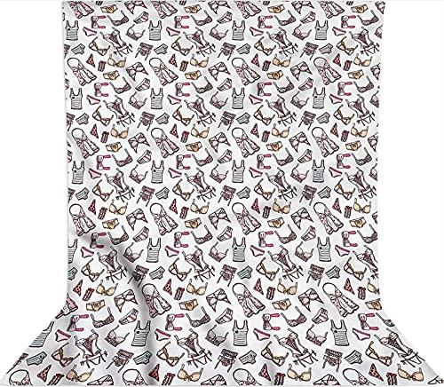 Fondo de fotografía de 1,2 x 1,8 m, piezas de lencería femenina de microfibra Glam telón de fondo de tela, con bolsillo para barra (solo telón de fondo) para fiestas temáticas