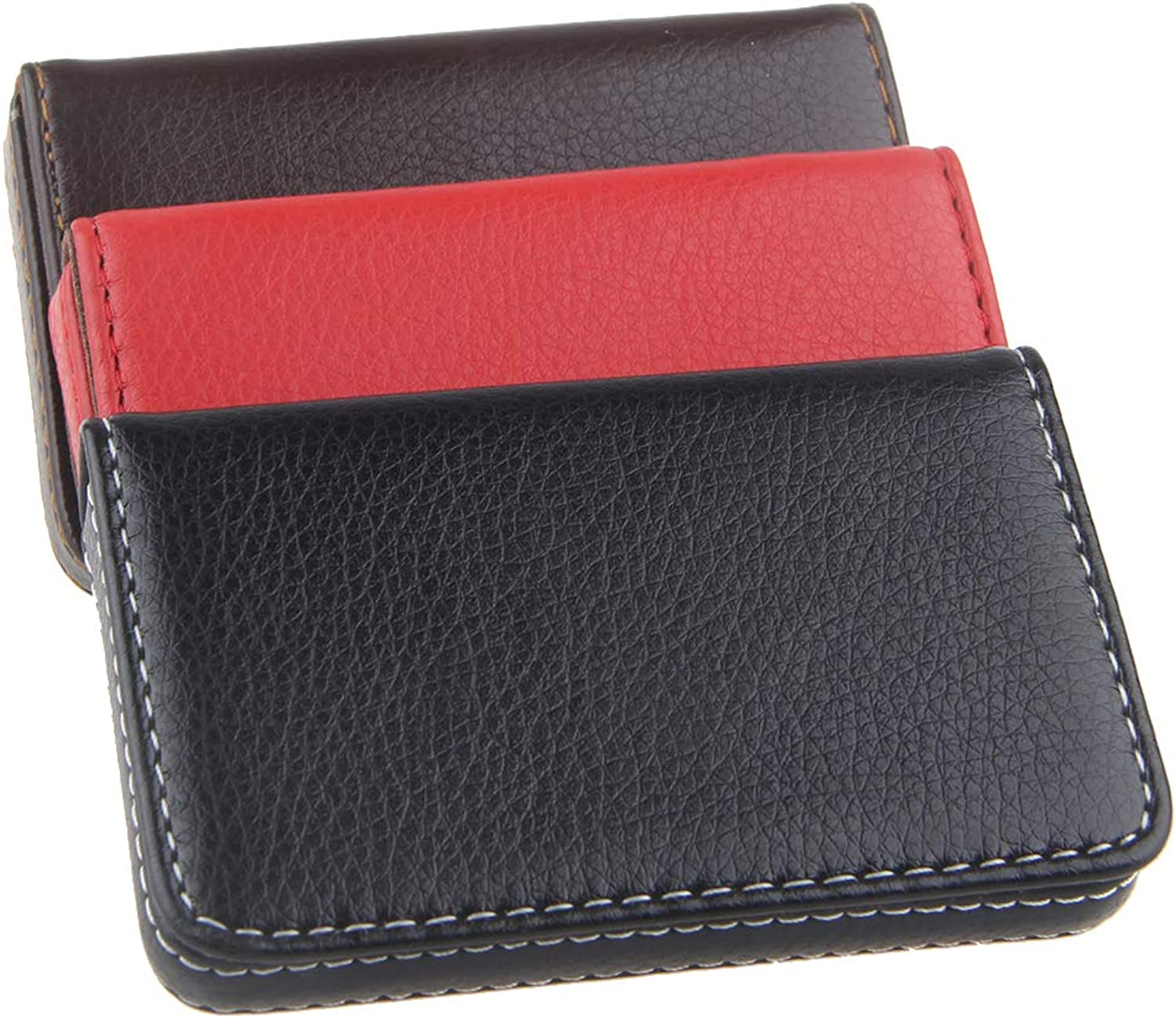 ECOSCO PU Leather Stainless Steel Slim Professional Business Cards Holder Case Assorts (T3pcs)