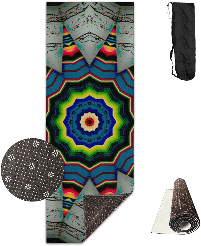Yoga Mat Non Slip 24  X 71  Exercise Mats Kaleidoscope Southwestern colors Premium Fitness Pilates Carrying Strap