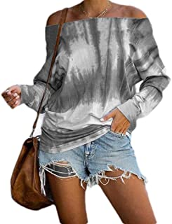 Loyomobak Womens Long Sleeve Off The Shoulder Tie Dye Casual Loose Fit T-shirt