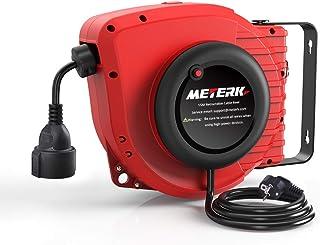 Automatik Kabeltrommel Meterk 15M1.5M Kabelaufroller Outdoor, Anwendbar Auf 1500WMax Belastbarkeit Abgerollt: 3200W mit 180° Drehbar Wandhalterung, Reset-Taste und Einstellbarer Anschlag