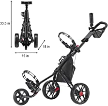 Hoveroid Foldable 4 Wheel Golf Push Cart Aluminum Structure, Light Weight Suitable Golf Pull Cart for Teenagers&Adults Golf Club, Golf Course, Sports Competition