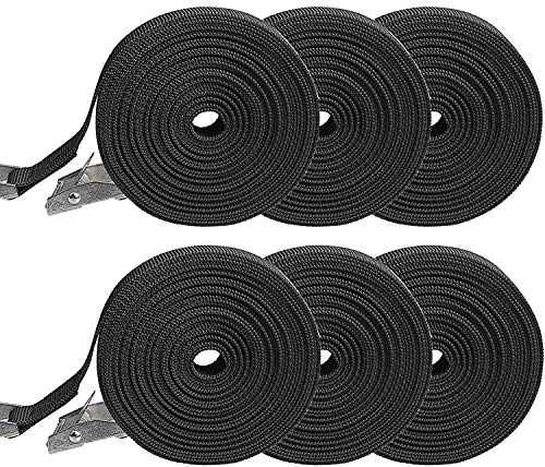 berglink 6 Pack Direct Ratchet Tie Down Straps Luggage Straps, Adjustable Zinc Alloy Press Buckle Tensioning Belts Luggage Straps for Motorcycle Cargo Trailer Truck Luggage(3M x 25mm,Black)