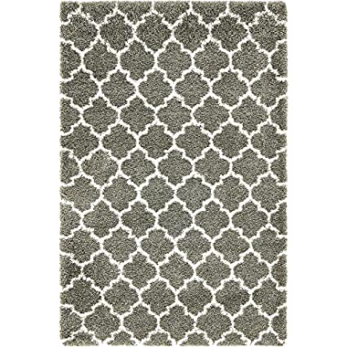 Unique Loom Rabat Shag Collection Lattice Trellis Geometric Moroccan Plush Gray Area Rug (5' x 8')