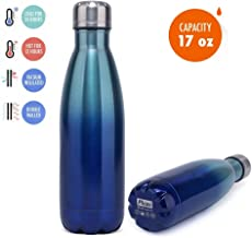 Stainless Steel Water Bottle,Alteng 17 oz Double Wall Vacuum Insulated Thermal Spill- Proof and No Sweating Perfect for Summer Outdoor Sports Camping Hiking Cycling