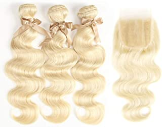 Debut 3 blonde human hair bundles with one 4x4 closure 613 brazilian hair bundles with frontal middle parting swiss lace natural body wave virgin hair weave for women (18 20 22+16)