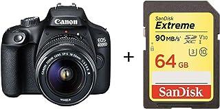 Cámara Canon EOS 4000D 18 MP SLR Negra Kit con Objetivo EF - Tarjeta de Memoria SanDisk III S 18-55mm III