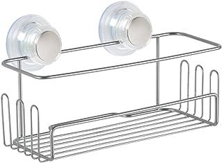 InterDesign Turn-N-Lock étagère de douche, petit valet de douche en métal à accrocher avec ventouses en plastique, argenté