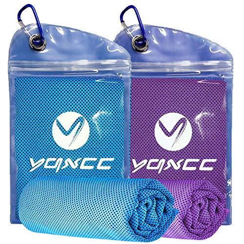 YQXCC Paquete de 2 Toallas de enfriamiento (120 x 30 cm), Toalla de Hielo, Toalla de Microfibra, Toalla fría instantánea para Yoga, Golf, Gimnasio, Deportes, Camping