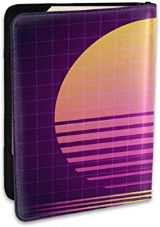 SXboxing Leather Passport Holder Cover Case,Travel Wallet For Women Men Purple 90S 80S Retro Sci Fi Sunset VHS Graphic Electro Vintage Grid Neon Abstract