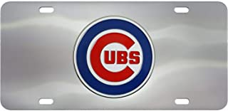SLS FANMats Chicago Cubs Premium Die Cast Solid Metal Chrome License Plate Tag Baseball