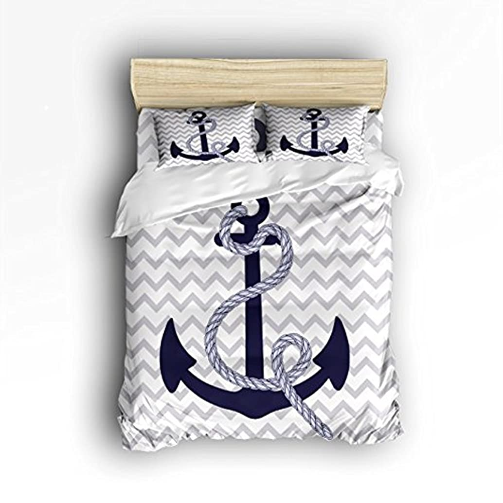 Vandarllin Queen Size Bedding Set- Navy Nautical Anchor with Grey White Zig Zag Chevron Pattern Duvet Cover Set Bedspread for Childrens/Kids/Teens/Adults, 4 Piece 100% Cotton