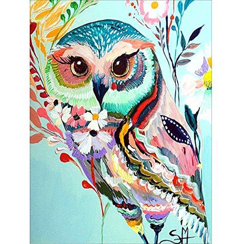 MWOOT 5D Búho Diamante Pintura por Número Kit,DIY Owl Diamond Painting Rhinestone Bordado de Punto de Cruz Artes Manualidades Lienzo Pared Decoración (30x40cm)