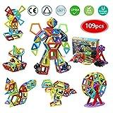 infinitoo Blocchi Costruzioni Magnetiche 109 Pezzi Puzzle Costruzioni Magnetiche Kit di Blocchi Magnetici per Sviluppare l'Intelligenza e la Memoria di Bambini