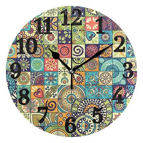 Ahomy Runde Wanduhr Vintage Marmor mexikanische Keramik Fliesen Medaillon Home Art Decor Anti-Ticking Ziffern Uhr für Home Office 1 x AA Batterie (Nicht enthalten)