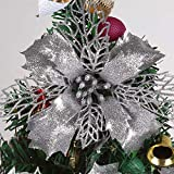 """RECUTMS 12 Pieces Glitter Artificial Poinsettia Flower Christmas Wreath Christmas Tree Flowers, Glitter Gold 6"""" Artificial Flowers Picks Decor Wreath Garland Holiday (Silver)"""