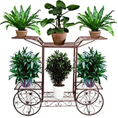 Schody kwiatowe 2 poziomy, wykonane z metalu, stojak na kwiaty do wnętrz i na zewnątrz, HBT: około 67x 79 x 25 cm (brąz)