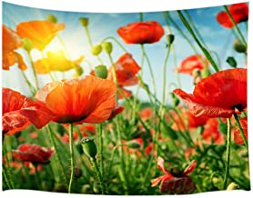 JAWO Floral Flower Tapestry Wall Hanging, Poppy Flower with Sunshine Tapestry Blanket for Bedroom Living Room Dorm Wall Decor Art Tapestry 71x60 inches