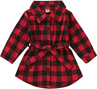Toddler Kid Baby Girl Plaids Checked Christmas Outfits Set Long Sleeve Party Princess Floral Dress Lovely Onesie 0-5T