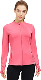 Women's Slim Fit Yoga Workout Jacket Full Zip Running Track Jacket Lightweight Outerwear with Zipper Pockets