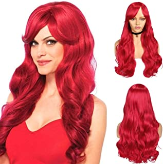 WIGNEE Long Wavy Wig with Bangs Heat Synthetic Party Wigs for Women Full Silky Hair Replacement Wigs