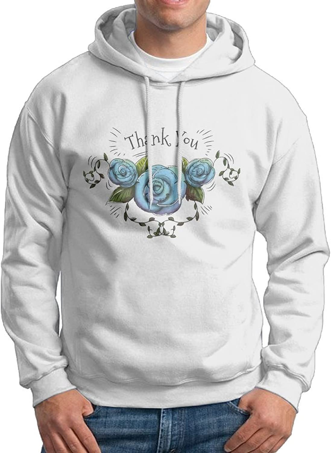 Fashion Men's Athletic Thank You blueee pink Print Soft & Cozy Drawstring Hoodie Without Pocket Sweater White
