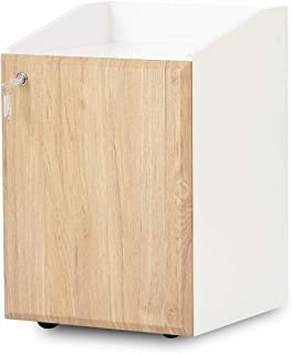 DEVAISE 2-Drawer Wood File Cabinet with Lock, Mobile Filing Cabinet for Letter Size / A4, White+Oak