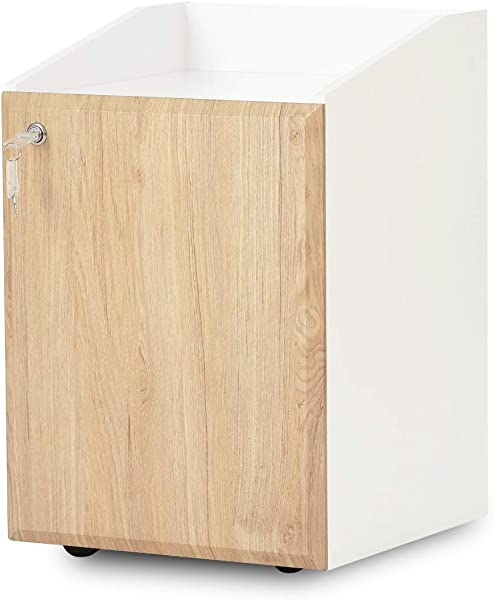 DEVAISE 2 Drawer Wood File Cabinet With Lock Mobile Filing Cabinet For Letter Size A4 White Oak