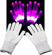 WOWOSS Guanti Luminosi LED Colorati per Bambini Guanti Lampeggianti per Adulti per Festa Halloween Natale e Sera 1 Paio