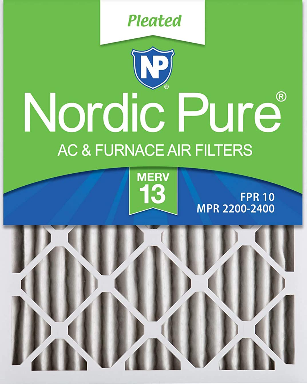 Nordic Pure 20x24x2 MERV 13 Pleated AC Furnace Air Filters, 2-Inch, 3 Pack