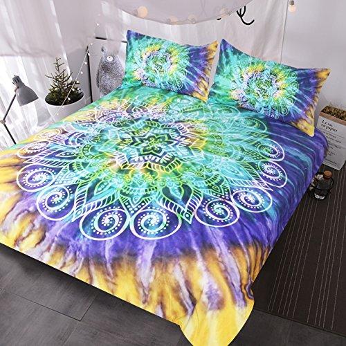 BlessLiving Lotus Flower Tie Dye Bedding 3 Piece Bohemian Mandala Duvet Cover Yellow Purple Green Tye Dye Bedding Sets (Queen)