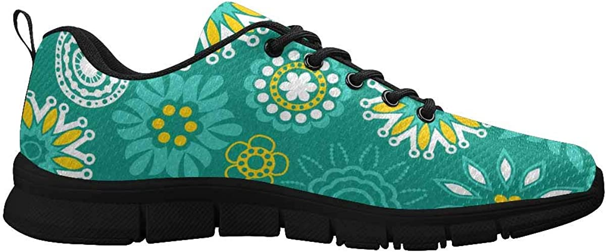 InterestPrint Flowers Floral Green Women's Breathable Non Slip Sneakers