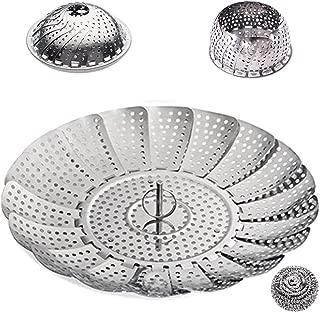 Choppie Steamer Basket, Durable Stainless Steel Steamer Insert, Vegetable Steamer Basket with Steel Wool, Corrasion Resistance Steaming Basket Dishwasher Safe, Collapsible Instant Pot Steamer Basket