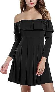 Zeagoo Women's Off Shoulder Ruffles Strapless Short Dresses Flare Hem Party Short Mini Dresses