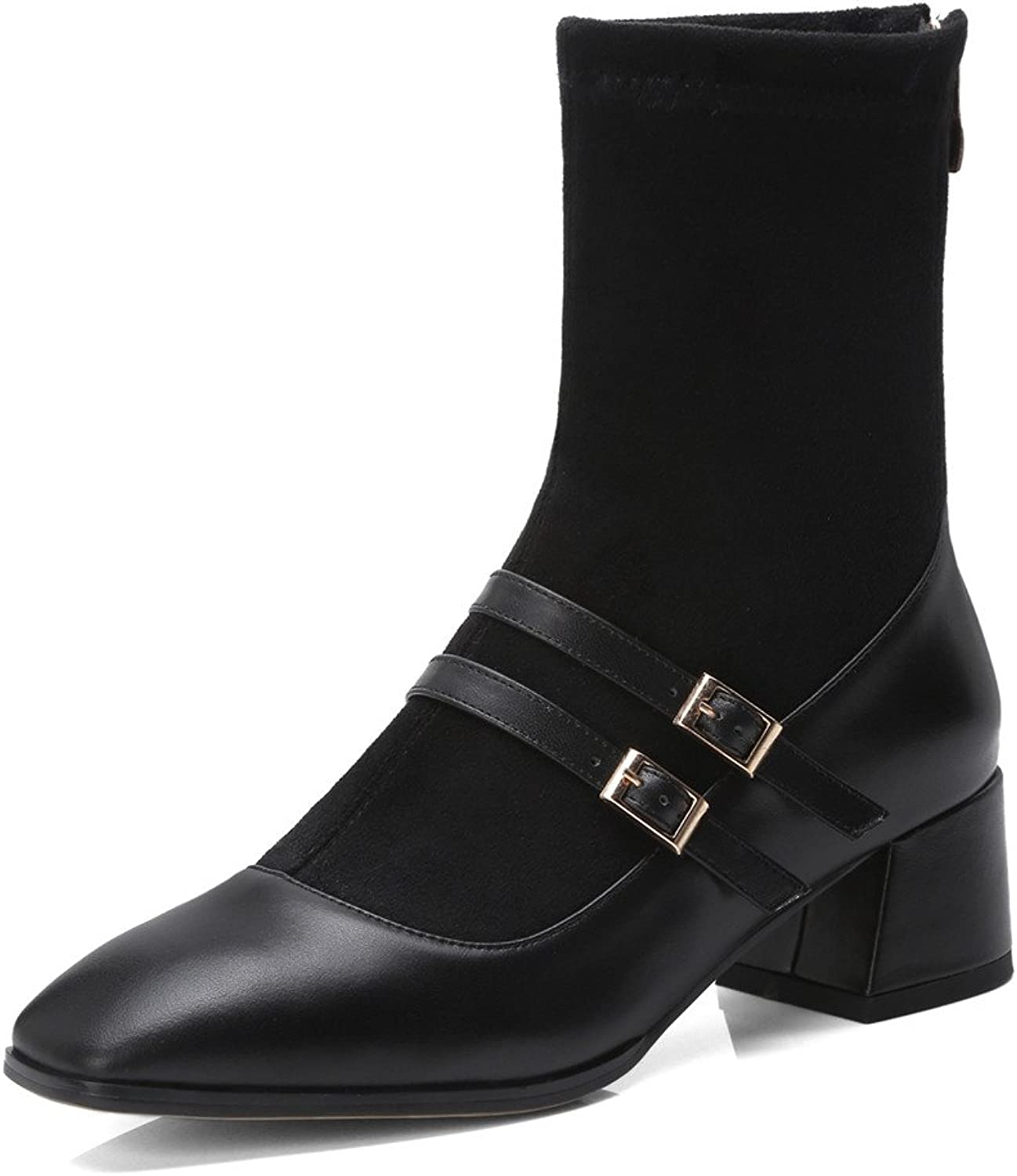 Nine Seven Suede Leather Women's Pointed Toe-Mid Chunky Heel-Slip On Handmade Comfort Women MId Calf Boots