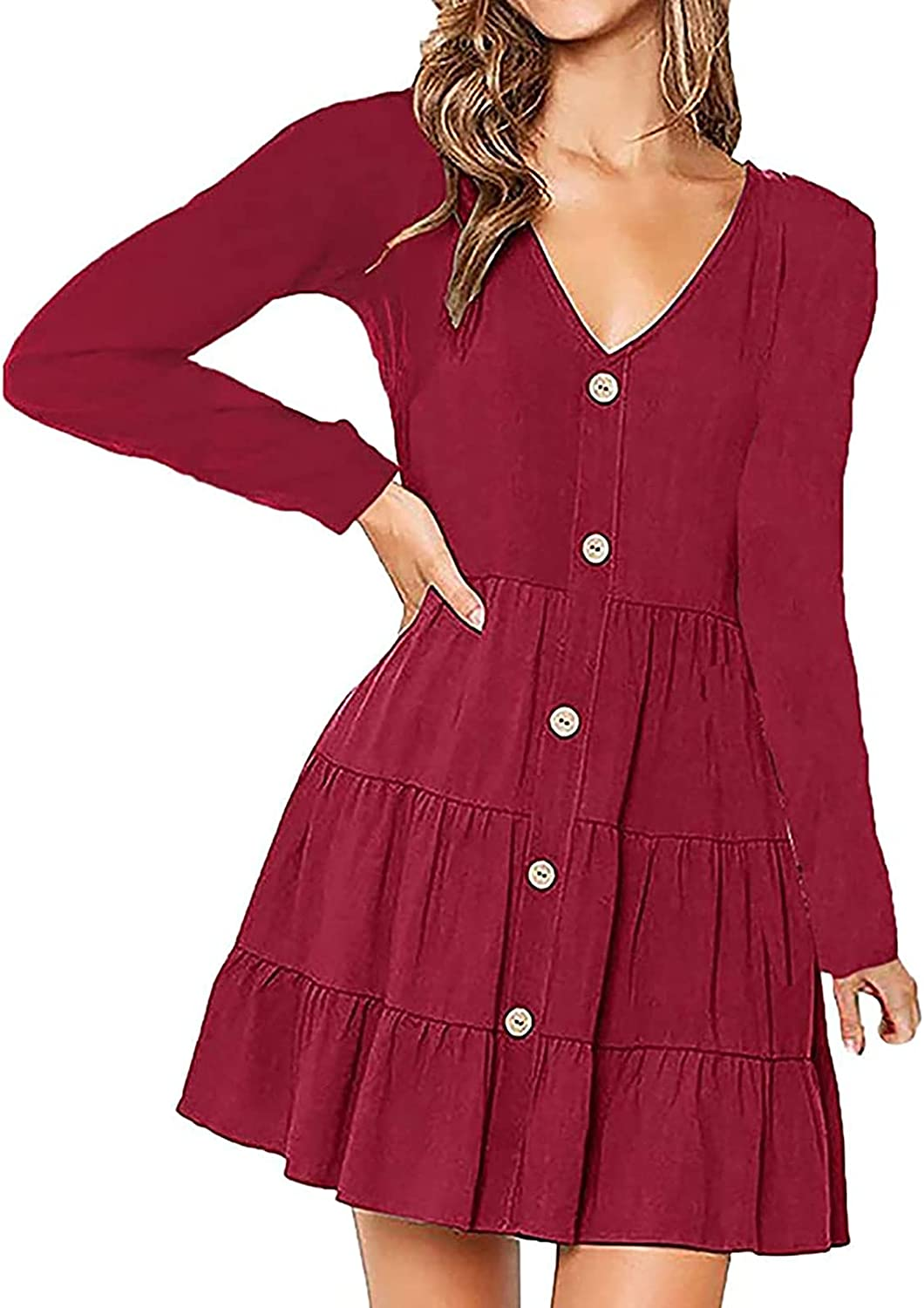 Women Casual V Neck Long Sleeve Fall Dresses, Vintage Fashion Decorative Button 90s Flowy Smocked Pullover Tshirt Dress