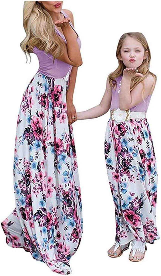 Mommy and Me Flower Print Dedication Dress Sleeveless Stitching Family Seattle Mall Matc