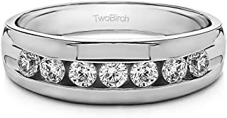 TwoBirch Sterling Silver Channel Set Men's Ring with Open End Design With Cubic Zirconia(0.24Ct. Size 9.5)