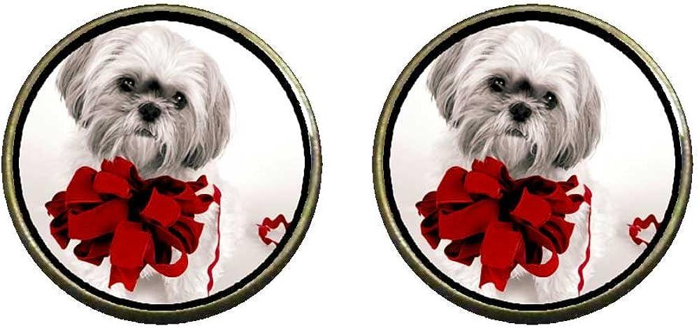 GiftJewelryShop Bronze Retro Style Happy XMAS Christmas dog Photo Clip On Earrings 14mm Diameter