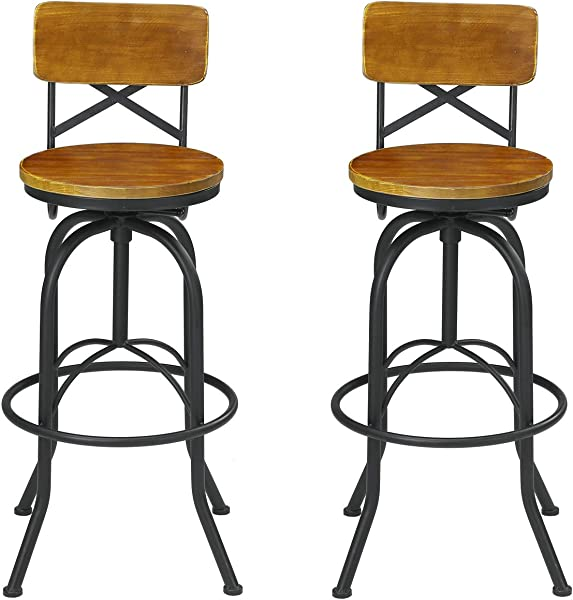 VILAVITA Set Of 2 25 6 Inch To 29 6 Inch Adjustable Round Wooden Bar Stools With Backrest Retro Finish Bar Chairs With Wooden Seat And Wrought Iron Frame Swivel Bar Stool