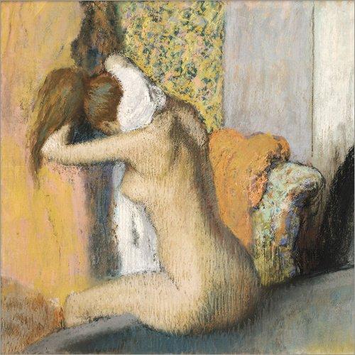 Posterlounge Acrylglasbild 70 x 70 cm: Frau nach dem Bade trocknet Sich den Nacken von Edgar Degas/Bridgeman Images - Wandbild, Acryl Glasbild, Druck auf Acryl Glas Bild