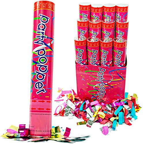 2. Confetti Cannons Air Compressed Party Poppers (6 Pack)