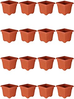 Spylark Premium First Smart Plastic Square Pot Set (14-inch)(Pack of 16)